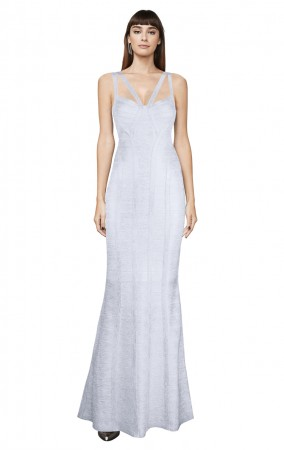 Herve Leger Bandage Dress Long Gown Foil Silver Yoke Strap