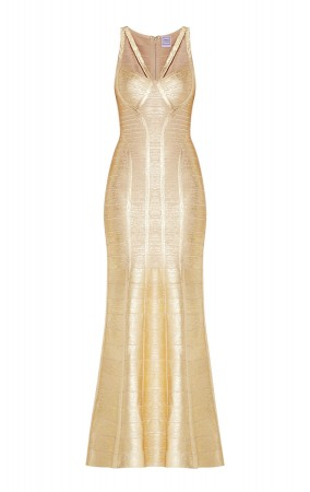 Herve Leger Bandage Dress Long Gown Foil Gold Yoke Strap