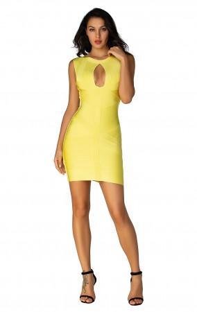 Herve Leger  Bandage Dresses O Neck Keyhole Open Back Lemon Yellow