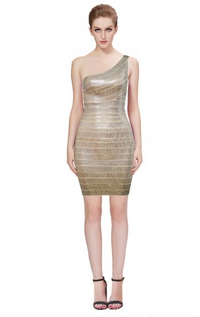 Herve Leger Bandage Dresses Sequin One Shoulder Backless Gold