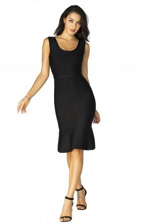 Herve Leger Scoop Neck Dress Black