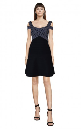 Herve Leger Bandage Dress Flared Scallop Black