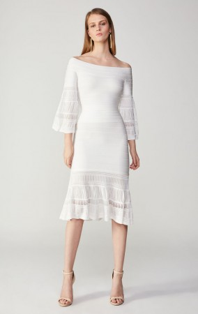 Herve Leger Bandage Dress Long Sleeve Off Shoulder Two Piece White