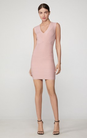 Herve Leger Icon Plunging V Mini Dress