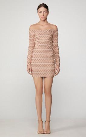 Herve Leger Off The Shoulder Metallic Mini Dress