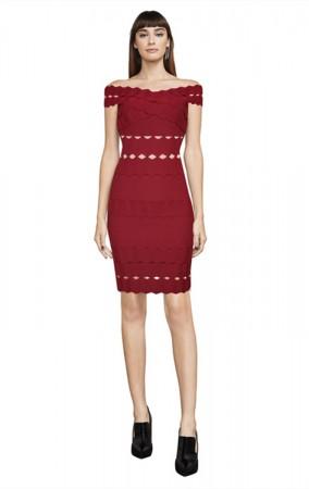 Herve Leger Bandage Dress Off Shoulder Red