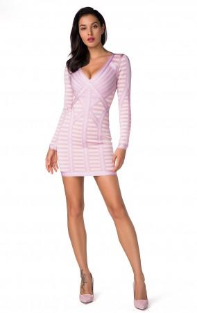 Herve Leger Bandage Dress Long Sleeve  Pink Apricot