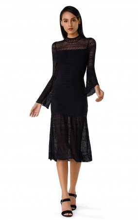 Herve Leger Bandage Dress Long Sleeve Lace Black