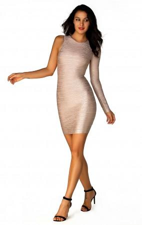 Herve Leger A Long Sleeve Metallic Bandage Dress