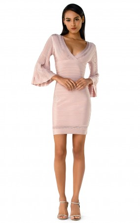 Herve Leger Bandage Dress Long Sleeve Flared V Neck Pink