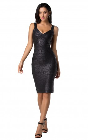 Herve Leger Bandage Dress Foil Tank Strap Backless Black