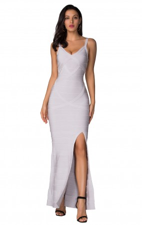 Herve Leger Bandage Dress Long V Neck Scallop White