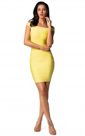 Herve Leger Bandage Dresses Off Shoulder Yellow Mini Dress