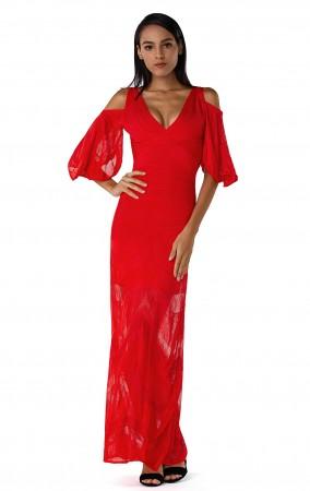 Herve Leger Bandage Dress Long Halter V Neck Ankle Length Red