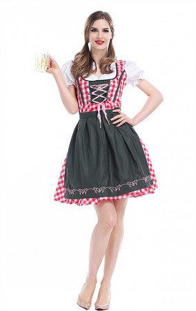 Womens German Bavarian Beer Wench Carnival Halloween Costume Maid Outfit