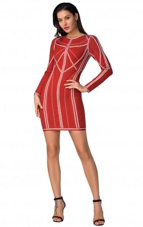 Herve Leger Bandage Dress Long Sleeve Jacqaured Red