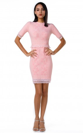 Herve Leger Bandage Dress O Neck Falbala Pink