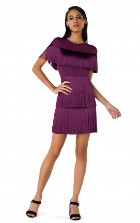 Herve Leger Bandage Dress O Neck Tassels Purple