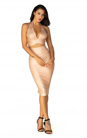 Herve Leger Bandage Dress Metallic Halter V Neck Backless Gold