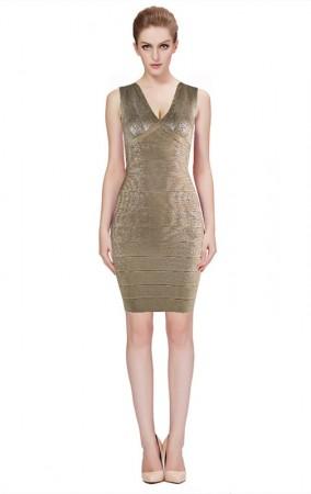 Herve Leger Bandage Dresses Foil V Neck Gold Cocktail Dress