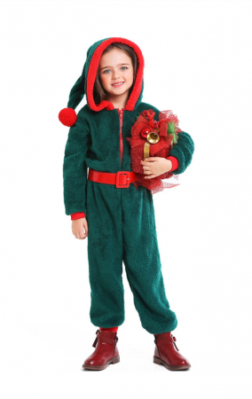 Party Homewear Kids Coral Velvet Christmas Jumpsuit