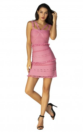 Herve Leger Bandage Dress Flared Yoke Strap Tassels Pink
