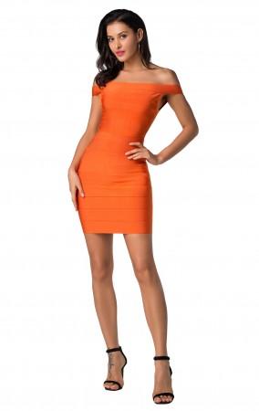 Herve Leger Bandage Dresses Off Shoulder Orange Mini Dress
