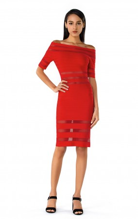 Herve Leger Leia Mesh Inset Off-Shoulder Dress  Red