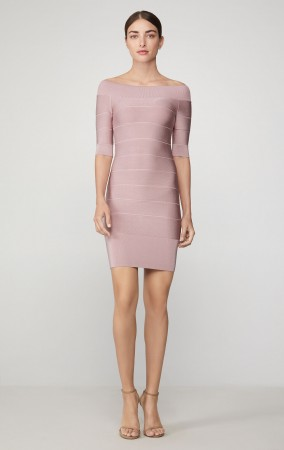 Herve Leger Icon Off The Shoulder Ribbed Dress