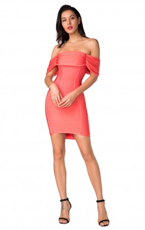 Herve Leger Bandage Dress Off Shoulder Coral