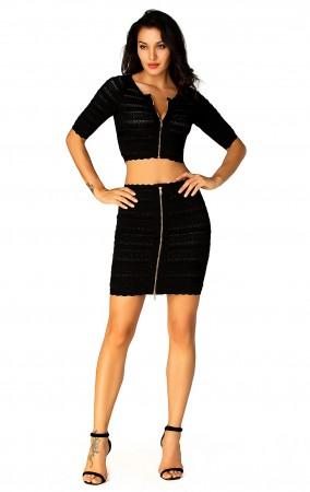 Herve Leger Mid Sleeve Scalloped-Edge Bandage Dress Black