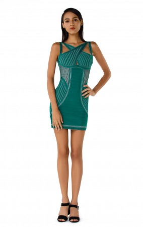 Herve Leger Bandage Dress Halter Neck Keyhole Blue