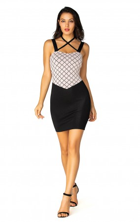 Herve Leger Bandage Dress Halter Neck Crisscross Colorblock Black