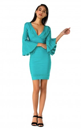Herve Leger Minervah Transparent Pointelle Dress