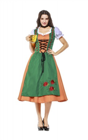 Womens Dress Color Block Oktoberfest Fraulein Costume