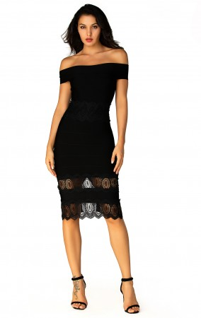 Herve Leger Bandage Dress Long Gown Strapless Lace Black