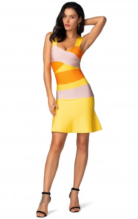 Herve Leger Bandage Dress Flared Yellow Orange Color Block