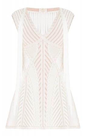 Herve Leger Ksenia Pointelle Crochet Fringe Dress