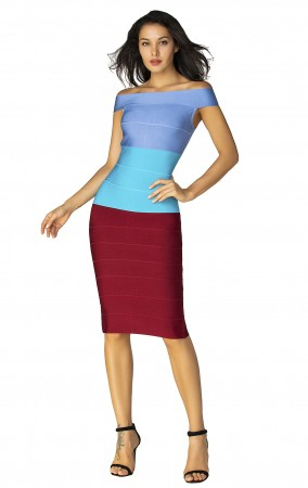 Herve Leger Bandage Dress Off Shoulder Colorblock Blue Red