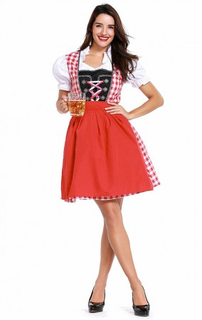 Womens Red Plaid Dress Oktoberfest Fraulein Costume