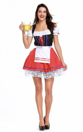 Womens Ribbon Lace Dress Oktoberfest Fraulein Costume