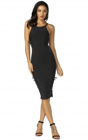 Herve Leger Bandage Dress Halter Neck Backless Black