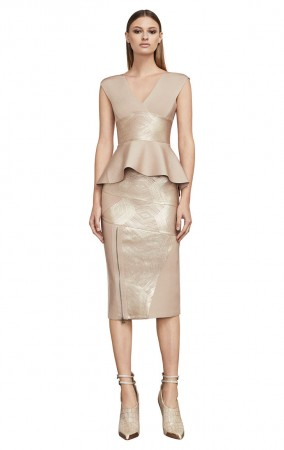 Herve Leger Metallic Two Piece Bandage Dress