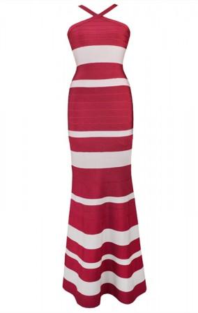 Herve Leger Bandage Dress Long Gown Halter Neck Red