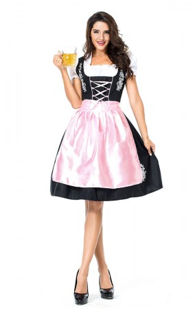 Womens Dress Pink Embroidered Oktoberfest Fraulein Costume