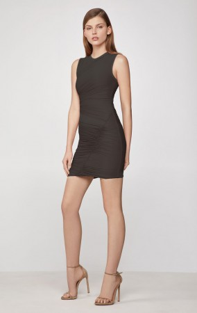 Herve Leger Tulle Bandage Ruched Mini Dress Black