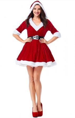 Christmas Costume Velvet Red V-neck Bubble Hooded Dress