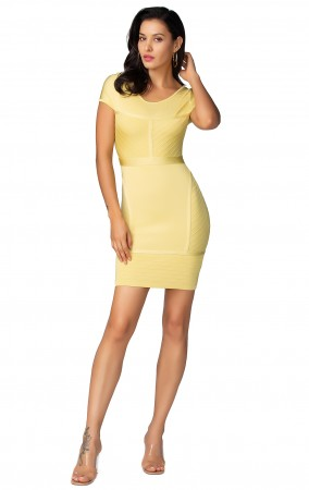 Herve Leger Celebrity Bandage Dresses Round Neck Short Sleeve Yellow