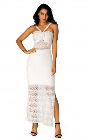 Herve Leger Bandage Dress Long Gown Halter Neck Lace Light White