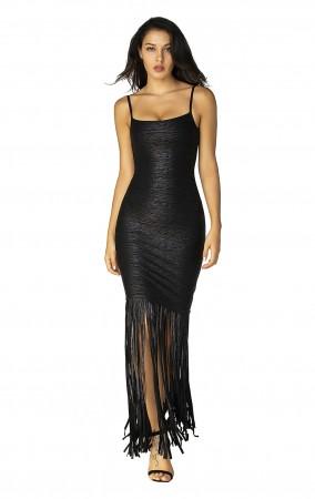 Herve Leger Black Woodgrain Foil Print Fringe Gown